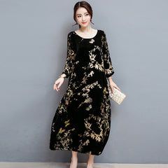 3/4 Sleeve Printed Long Dress
