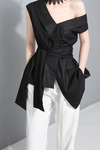 SLEEVELESS OBLIQUE NECKLINE AND ASYMMETRIC HEM TOP  WITH SELF-FABRIC BELT