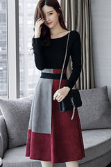 Off-shoulder Top and A-line Skirt Two-pieces Set