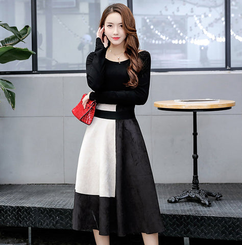 OFF SHOULDER LONG SLEEVE KNITTING SWEATER TOP AND CONTRAST SUEDE  A-LINE SKIRT 2PCS SET