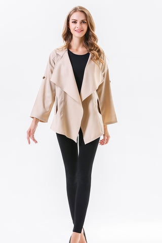 LONG SLEEVE WIDE LAPEL BLEND COAT
