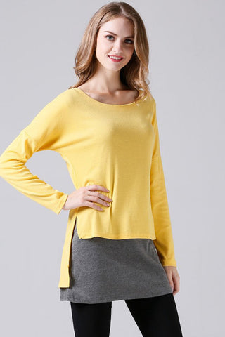 LONG SLEEVE CONTRAST FAKE TWO-PIECE (ONE PIECE) T-SHIRT