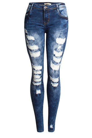 Elastic Holes Destroyed Skinny Jeans