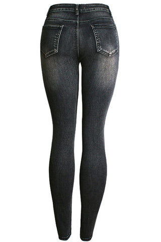 Elastic Holes Destroyed Wrinkle Accent Skinny Jeans