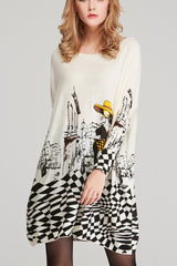 Long Sleeve Boat Neck Loose Sweater Dress