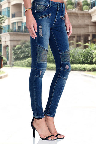 Zipper Accent Elastic Skinny Denim Jeans