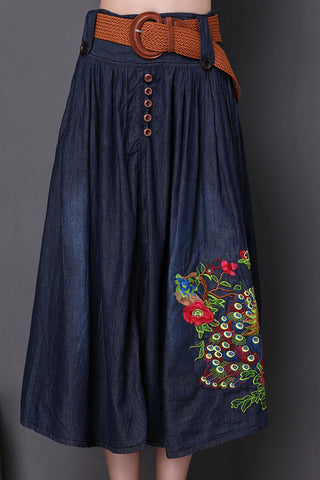 Embroidered Waist Belted Skirt