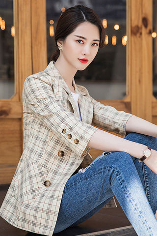 Three Quarter Sleeve Plaid Blazer