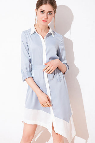 3/4 SLEEVE ASYMMETRICAL BUTTON UP CLOSURE SHIRT DRESS