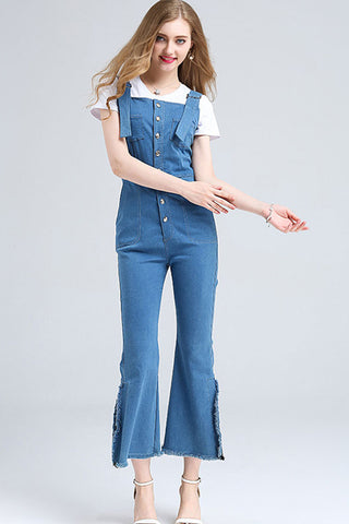 OVERALL JEANS WITH LEG SLITS