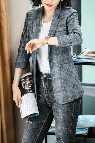 Long Sleeve One Buckle Plaid Suit Coat