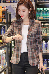 Roll Up Sleeve One Buckle Plaid Suit Coat