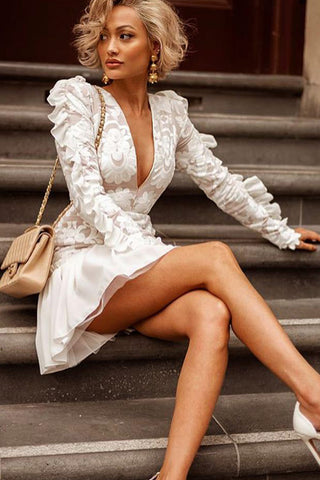 Deep V-neck Embroidered Ruffle Dress