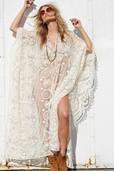 Open Side Hollow Out Lace Dolman Maxi Dress