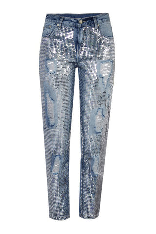 Sequin Denim Jeans
