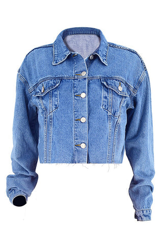 Long Sleeve Denim Short Coat