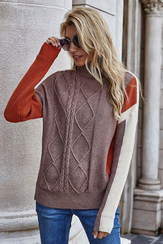 Long Sleeve Contrast Sweater