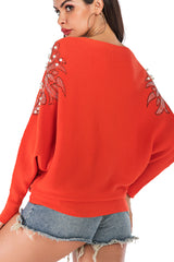 Off-shoulder Batwing Sleeve Beaded Sweater