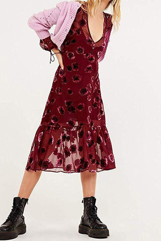 FOR LOVE & LEMONS-SOPHIE VELVET FLORAL MIDI DRESS