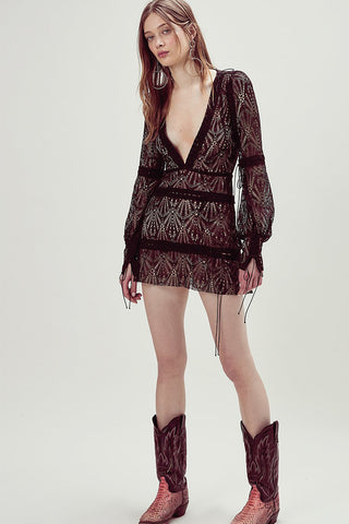 FOR LOVE & LEMONS-BRIGHT LIGHTS LONG SLEEVE MINI DRESS