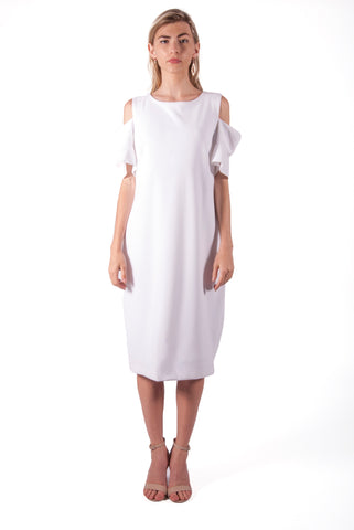 CALVIN KLEIN-SOLID SHEATH DRESS WITH FLAP SLEEVES