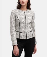 DKNY-Zip up Jacket with PU trim