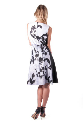 DKNY-FLORAL FIT AND FLARE DRESS