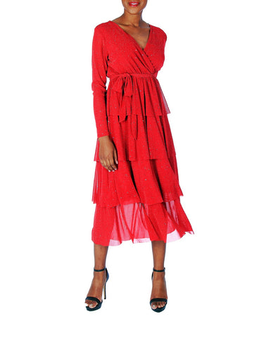 TWO PEARS-Long Sleeve V-neck Belted Ruffled Layered Dress