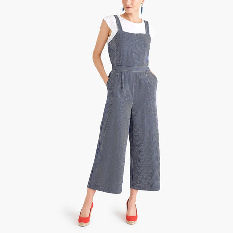 J CREW-CHAMBRAY CROSS-BACK JUMPSUIT IN STRIPE