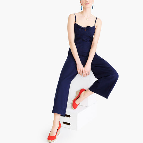TIE-FRONT JUMPSUIT IN LINEN-COTTON