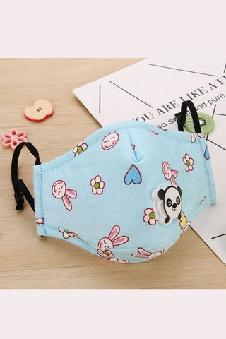 Kids - Cotton Fashion Masks Washable and Reusable Protective Non-Medical Face Covering Blue Rabbit Printed 2-pack