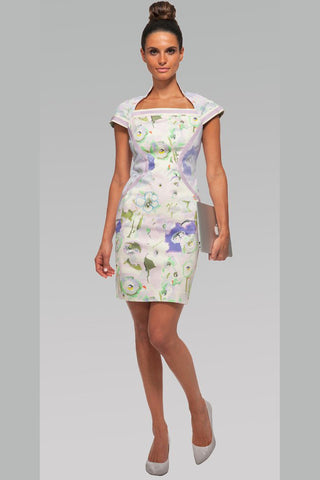 High Collar Dress w/Ragland Sleeves - Watercolor Flowers