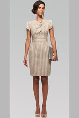 Draped Front Bodice Dress - Wood Grain