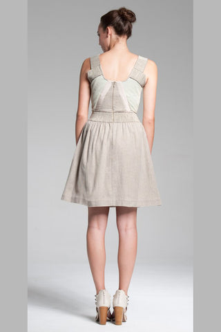 Strap Pocket Dress w/Full Skirt - Oatmeal