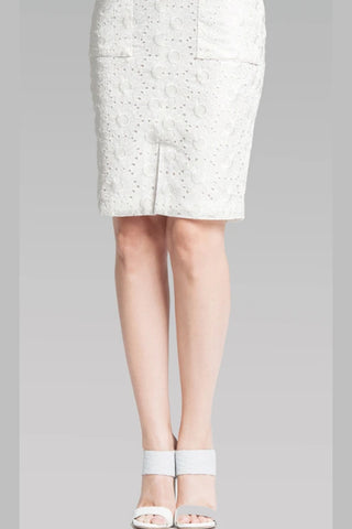 High Waisted Classic Skirt - White