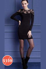 Long Sleeve lace Mini Dress in Black