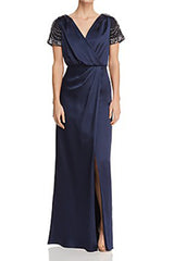 AIDAN MATTOX-TWILIGHT CAP SLEEVE LONG DRESS