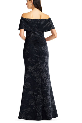 AIDAN MATTOX-BLACK OFF THE SHOULDER LONG DRESS
