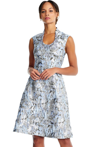 AIDAN MATTOX-BLUE MULTI SHORT SLEEVE SHORT DRESS
