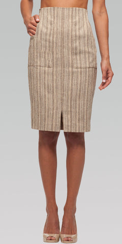 High Waisted Classic Skirt - Wood Grain