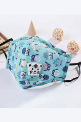 Kids - Cotton Fashion Masks Washable and Reusable Protective Non-Medical Face Covering Funny Owl Printed Blue 2-pack