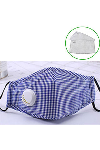 Cotton Fashion Masks Washable and Reusable Protective Non-Medical Face Coverings Colored Pattern Blue 2-pack