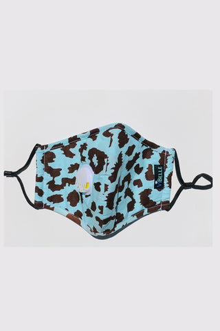 Cotton Cloth Fashion Masks Washable and Reusable Protective Non-Medical Face Coverings Turquoise Leopard Design 2-pack