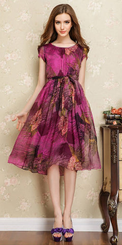 Printed Silk Pleated and Flare Dress