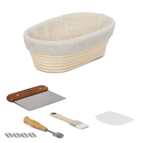 ViBelle 10 Inch Premium Oval Bread Proofing Basket Set