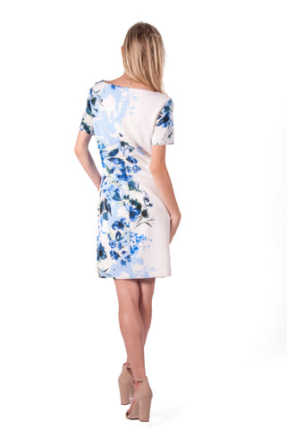 RALPH LAUREN-FLORAL SHORT SLEEVE SHIFT DRESS