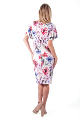 RALPH LAUREN-FLORAL RUFFLE SLEEVE SHIFT DRESS