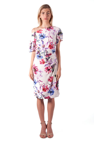 FLORAL RUFFLE SLEEVE SHIFT DRESS