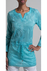 Floral Embroidered Cotton Shirting Drawstring Shirt - Aqua