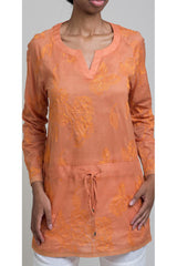 Floral Embroidered Cotton Shirting Drawstring Shirt - Rust